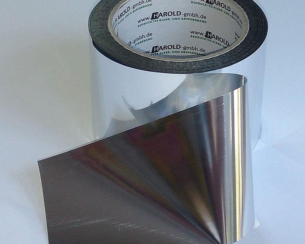 Absperrband metallic chrom