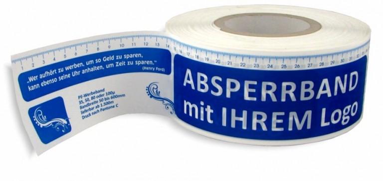 bedrucktes Absperrband/ Warnband/ Werbeband/ Hinweisband ja, auch Flatterband genannt