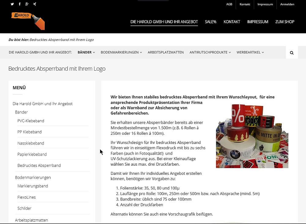 bedrucktes Absperrband harold-gmbh.de