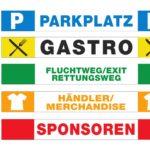 Absperrband Event Parkplatz, Gastro, Fluchtweg, Händler, Merchandise, Sponsoren