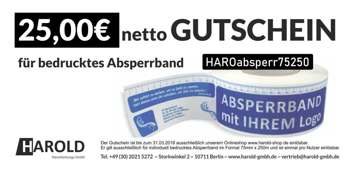 Jetzt Gutschein über 25,00 EUR netto für bedrucktes Absperrband ...