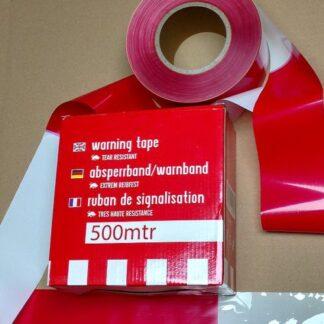 Absperrband Warning Tape rot-weiss