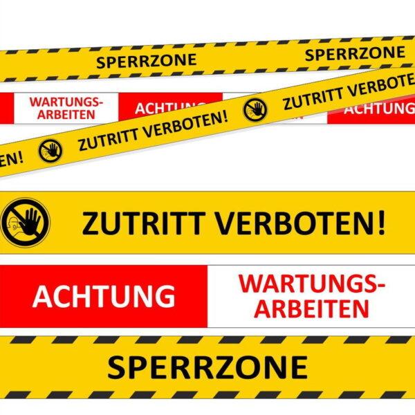 Absperrband Sperrzone - Zutritt verboten - Wartungsarbeiten