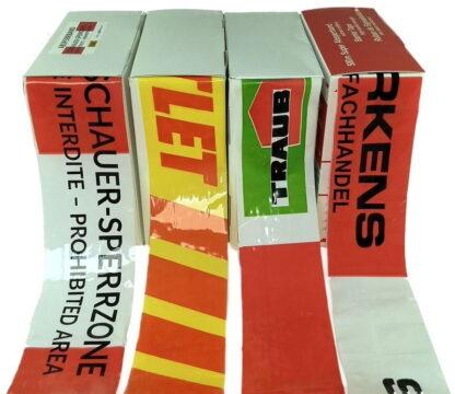 Absperrband mit Logodruck rot weiß