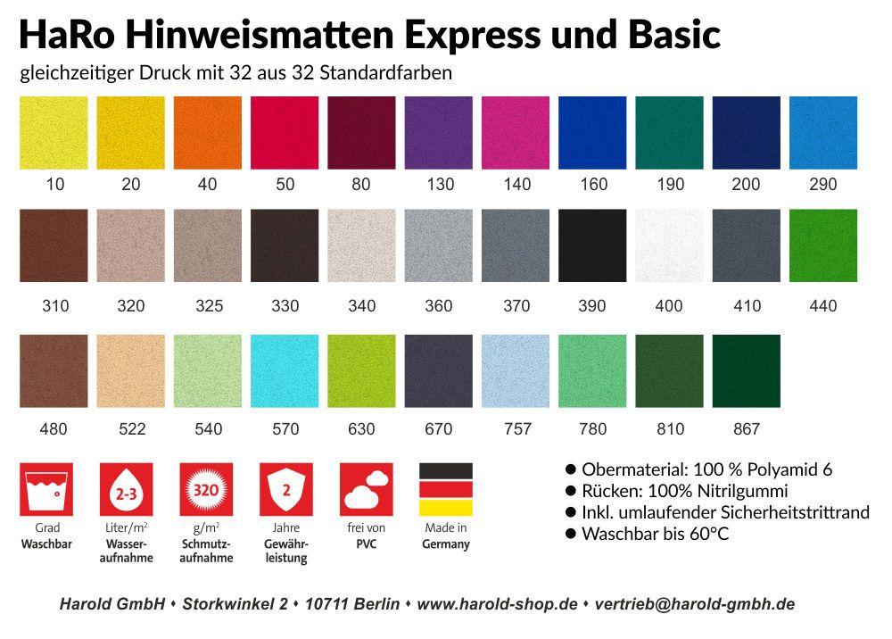 Standardfarben der HarRo Werbematten - Firmenmatte - Fußmatte