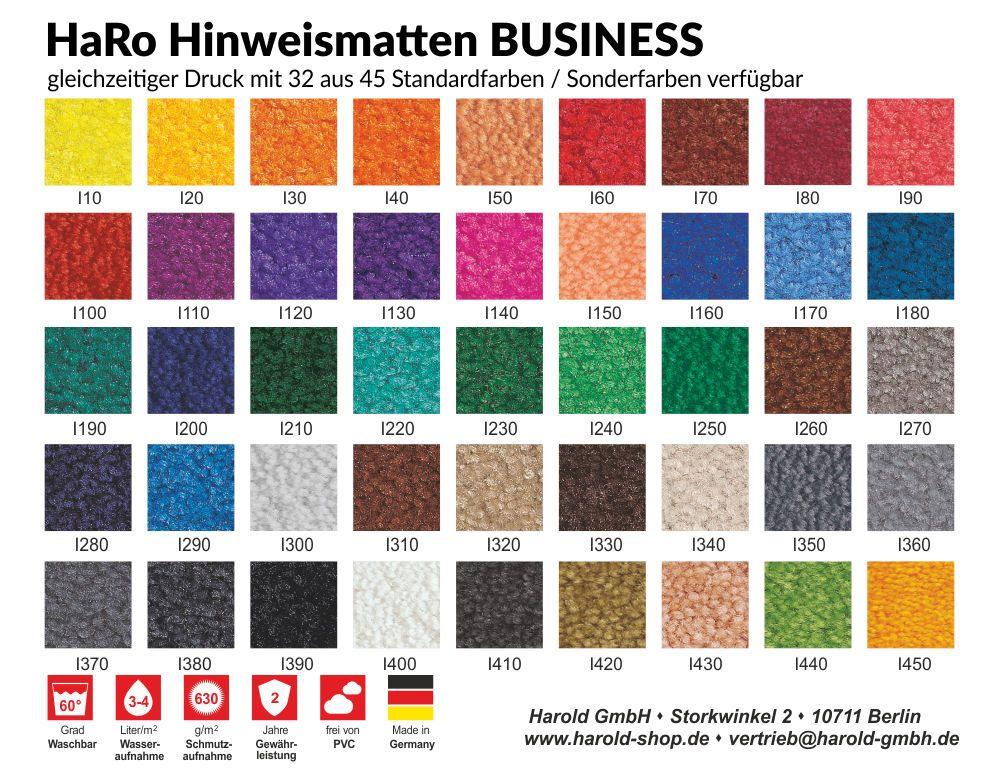 Farben der HaRo Business-Hinweismatten/ Logomatten/ Bodenmatten
