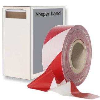 absperrband 500m rot weiß box